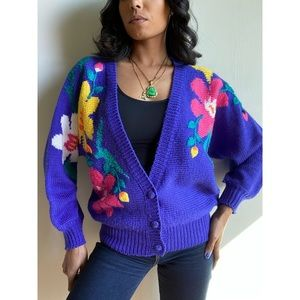 Vintage Floral Knit Cardigan